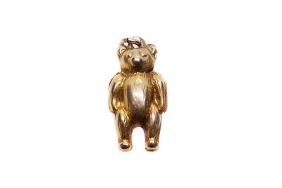 9k Gold Puffed Teddy Bear Charm