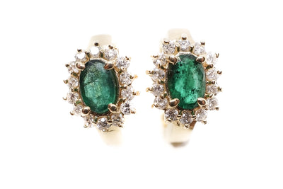 Estate Diamond and Emerald Earrings