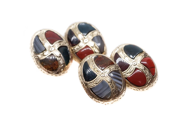 Scottish Agate Gold Cufflinks
