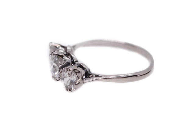 Platinum Old European Cut Diamond Trilogy Ring