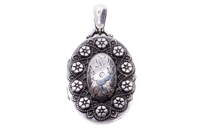 Sterling Silver Embossed Floral Locket