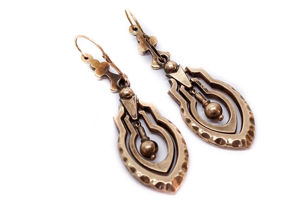 Victorian 9k Gold Pearl Drop Earrings