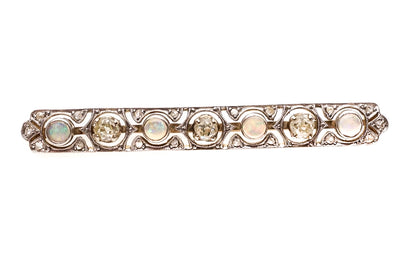 Antique Opal and Diamond Bar Brooch