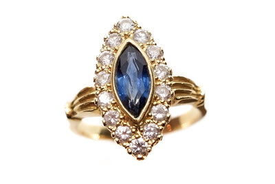 Vintage Sapphire and Diamond Navette Ring