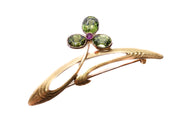 Art Nouveau Demantoid Ruby Brooch