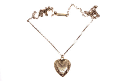 15k Gold Heart Locket Pendant Necklace