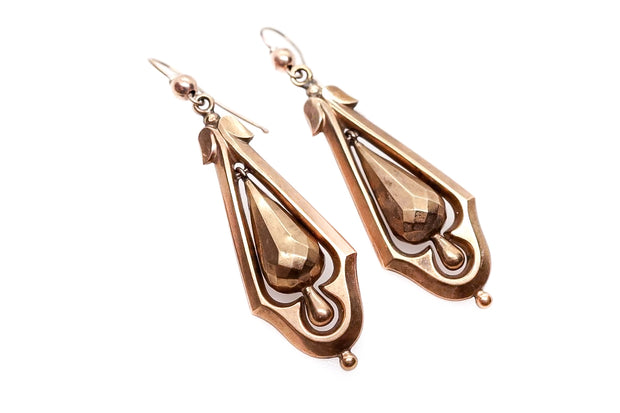 Victorian Gold Faceted Drop Earrings
