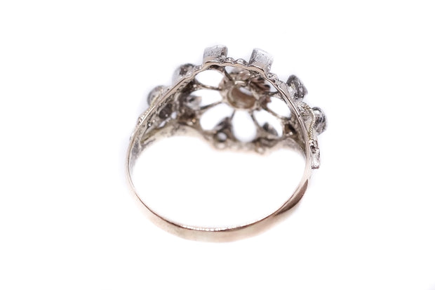 15k Gold and Silver Rose Cut Diamond Hearts Cluster Ring