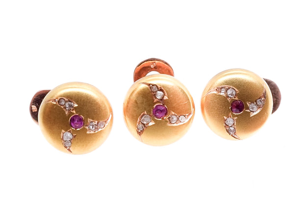18k Gold Ruby Diamond Studs