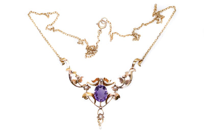 Edwardian Amethyst Pearl Necklace