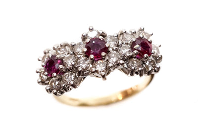 Vintage Diamond and Ruby Cluster Ring