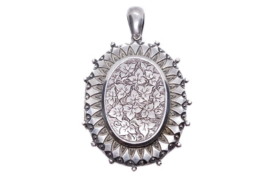 Victorian Sterling Silver Engraved Photo Locket