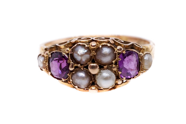 Almandine Garnet and Pearl Victorian Ring