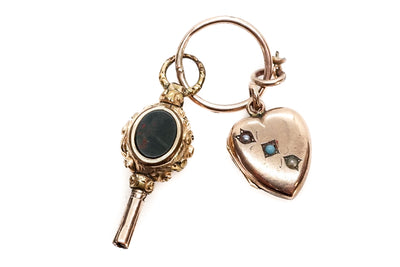 Antique Watch Key and Heart Locket