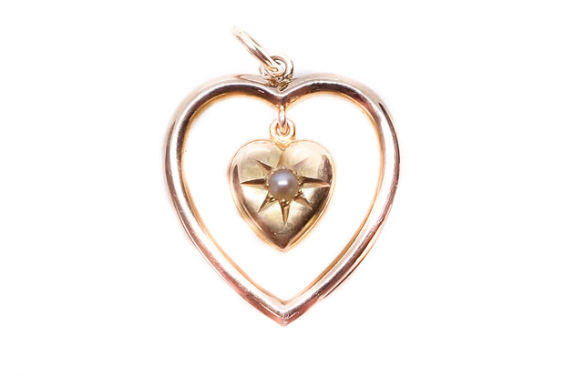 15k Gold Puffed Double Heart Pendant *reserved*