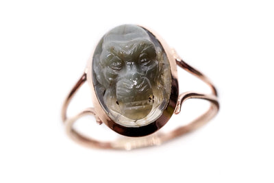 Scarce Cats Eye Monkey Cameo Ring