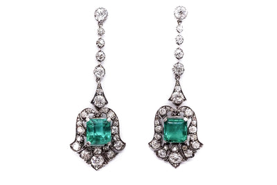 Certified Antique Colombian Emerald and Old Cut Diamond Earrings