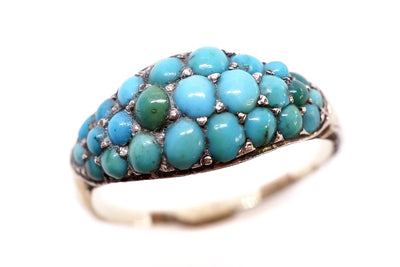 Victorian Pave Set Turquoise Ring