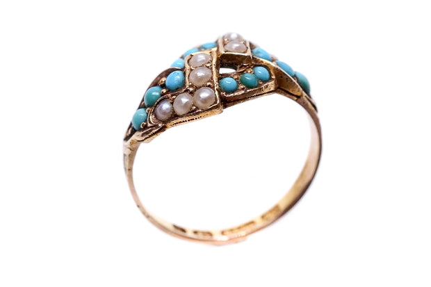 Victorian Turquoise Pearl Knot Ring