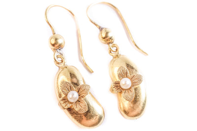 18k Gold Bean & Flower Earrings