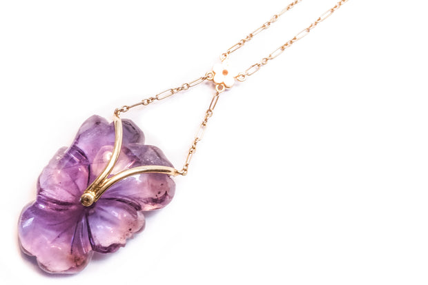 Carved Amethyst & Pearl Pansy Necklace