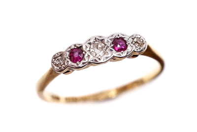 Art Deco Ruby and Diamond Five Stone Ring