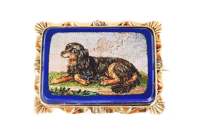 Fine Antique English 9k Gold King Charles Spaniel Dog Micro Mosaic Brooch c1830