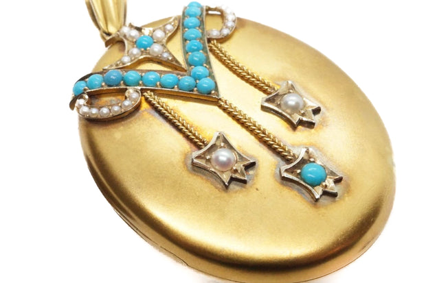 Victorian 15k Gold Turquoise & Pearl Locket Pendant Boxed.