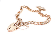 Vintage 9k Gold Curb Link Bracelet and Pig Charm
