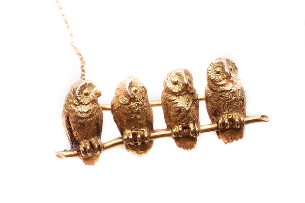 Late Victorian Owls and Branch Brooch