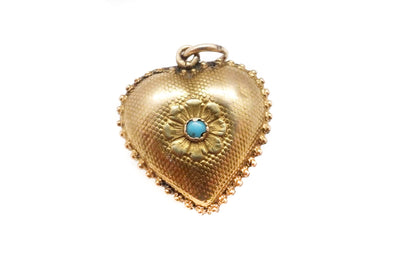 15k Gold Georgian Turquoise Heart Locket