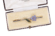 Boxed Amethyst Nephrite and Diamond Brooch