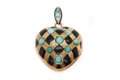 Large Turquoise Enamel Locket Pendant