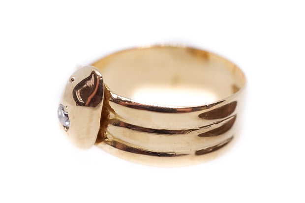 18k Gold Diamond Snake Ring c1910
