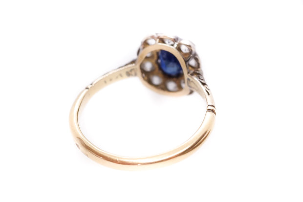 Platinum and 18k Gold Sapphire and Diamond Cluster Ring