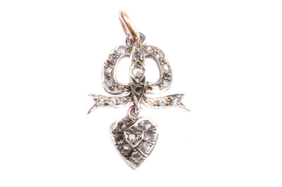 Rose Cut Diamond Bow Heart Pendant