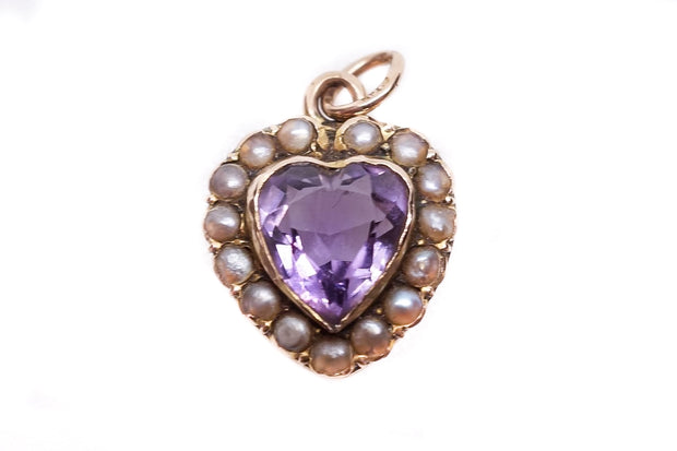 Amethyst and Pearl Heart Pendant