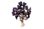 Enamel and Diamond Bouquet Flower Brooch