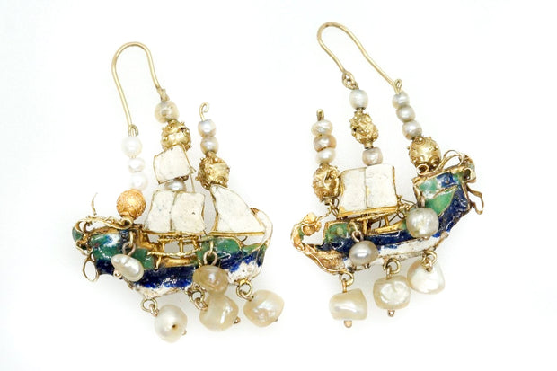 Magnificent Renaissance Enamel Baroque Pearl Galleon Earrings