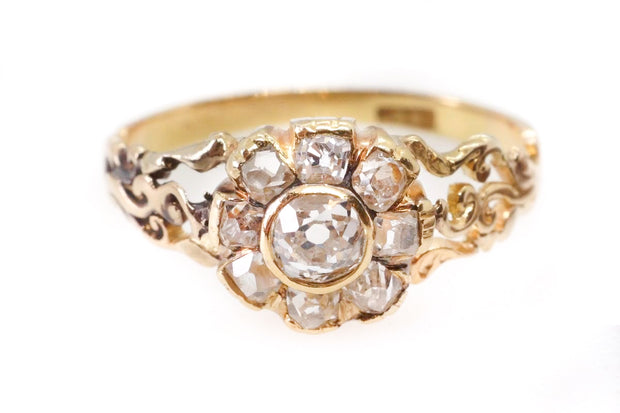 Early Victorian Old Cut Diamond Daisy Cluster Ring