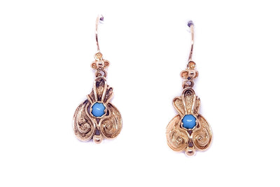 18k Gold Turquoise Repousse Earrings