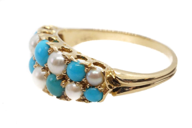 Late Victorian Turquoise and Pearl Ring