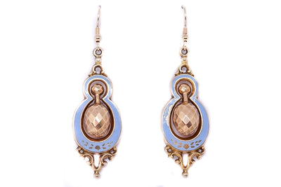 Victorian Blue Enamel Drop Earrings