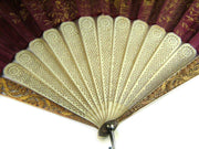 Frech 14k Gold Hand Painted Silk Enamel Fan