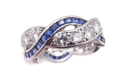 Art Deco Sapphire Diamond Eternity Ring