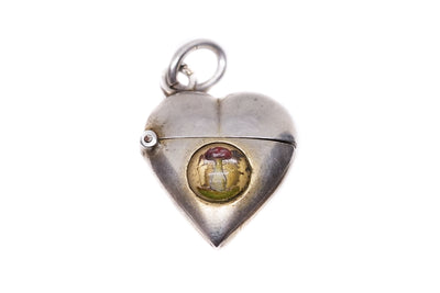 Silver Toadstool Essex Crystal Heart Charm