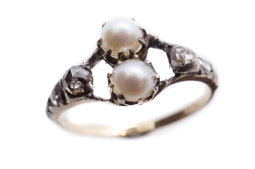 Rose Cut Diamond and Pearl Georgian Ring