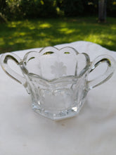 Load image into Gallery viewer, 1910 to 1940s pressed glass open sugar bowl with wheel cut cornflower pattern and starburst bottom