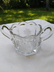 1910 to 1940s pressed glass open sugar bowl with wheel cut cornflower pattern and starburst bottom