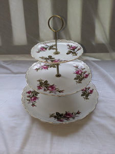Three Tier Tidbit Tray is the Rose Moss Pattern,  made in Japan 1950's